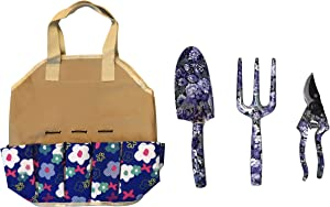 Garden Tools For Woman and Men | Heavy Duty Organizer Tote | Great Gardening Gifts | 4 Piece Garden Tool Kit Includes Trowel, Cultivator and Pruning Shear, | Gardeners Supply Floral Garden Design