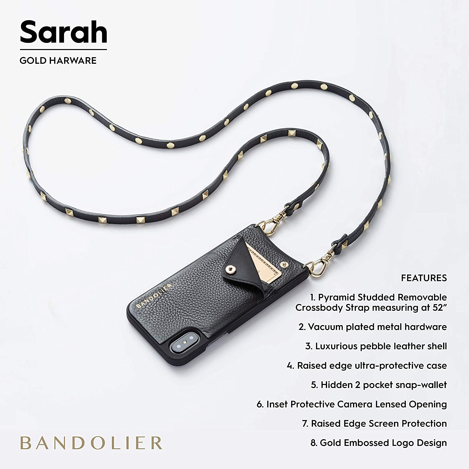 Compatible With iPhone XS Max Only Black Leather With Gold Detail Bandolier Sarah Crossbody Phone Case and Wallet