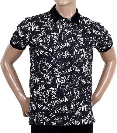 Versace Negro Graffiti Impreso Camisa Polo vers5450, Hombre, Color Negro, Tamaño Large: Amazon.es: Ropa y accesorios