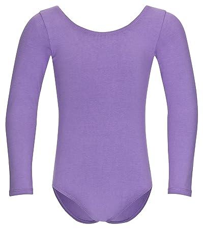 tanzmuster Kinder Langarm Ballettanzug Lilly mit rundem Hals- und Rückenausschnitt. Basic Ballett Trikot in den Farben rosa,