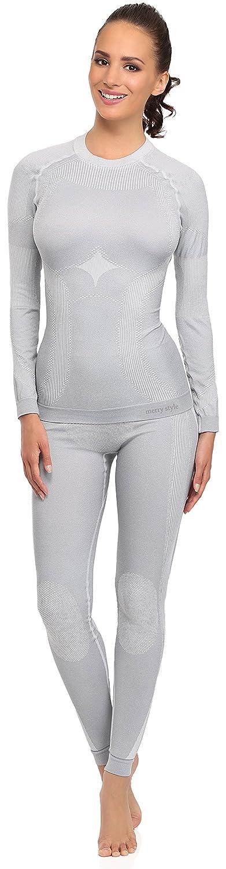 Merry Style Damen Funktionsunterwäsche Set lange Unterhose plus langarm Shirt thermoaktiv 06 110s 120s
