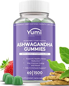 Ashwagandha Gummies Supplements w/ Zinc Vitamin D - Gummy Vitamins for Stress Relief Adrenal Health Mood Enhancer and Thyroid Support Compare to Capsules Tablets Pills Liquid - 60 Plant Based Gummies