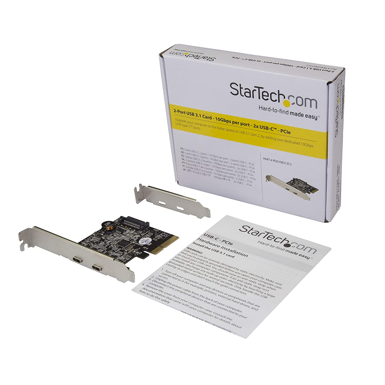 StarTech.com Dual Port USB-C Card – 2X USB-C – USB 3.1 PCI–e Card with SATA – USB 3.1 Expansion Card – PCI Express USB C Card (PEXUSB312C2)