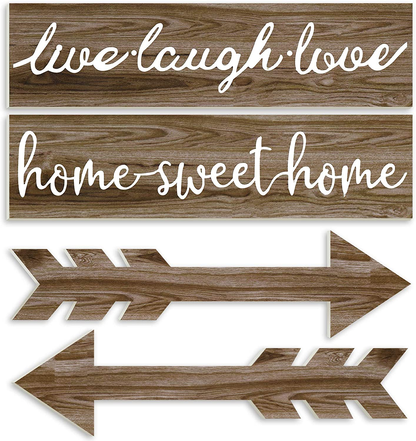 Jetec 4 Pieces Wood Home Sweet Home Signs Rustic Wood Arrow Sign Live Laugh Love Sign Wooden Wall Decors Farmhouse Entryway Signs for Home, 3.7 x 13.8 x 0.2 Inch