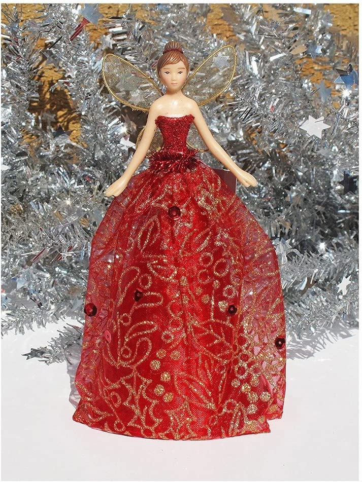 Gisela Graham paillettes rouge étoile de Noël Tree Topper-Christmas Tree Topper