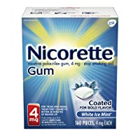 Nicorette 4mg Nicotine Gum to Quit Smoking - White Ice Mint Flavored Stop Smoking Aid, 160 Count