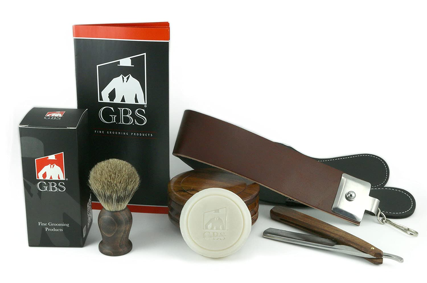 4 Piece Wood Shaving Set - Soap, Wood Bowl, Wood Straight Razor and Wood Badger Brush by GBS