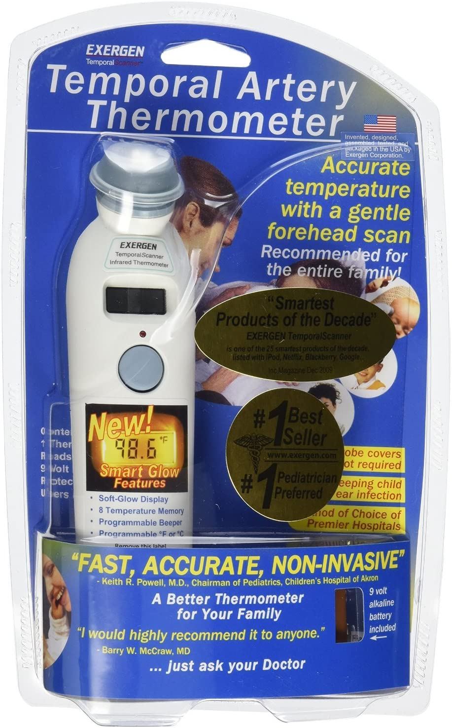 Exergen Temporal Artery Thermometer MODEL# 2000C TAT-2000C Battery (Pack of 2)