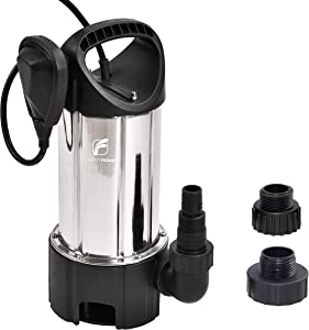 "FLUENTPOWER 3/4HP 3300GPH Portable Submersible Water Pump, Dirty/Clean Submersible Pump, Voidable Float Switch Function, Included 3/4"" Garden Hose Adapter and 1""&1.5"" MNPT thread for Discharge Hose"