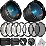 55MM Vivitar Essential Lens & Filter Accessory Kit for Nikon AF-P DX 18-55mm and Select Sony Lenses - Bundle with Wide Angle