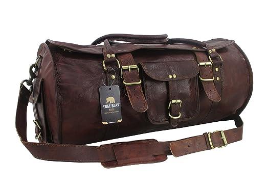 Yuge Bear 24 quot  FR1 Vintage Genuine Leather Flap Duffel Weekender Bag bad589870761c