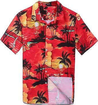 Coofandy Hombre Funky Camisa Hawaiana Manga Corta Playa y Palmeras Rojo Talla-XL: Amazon.es: Ropa y accesorios
