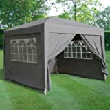 ESC Ltd 3x3mtr Pop Up Waterproof Gazebo in Grey with 2 WindBars and 4 Leg Weight Bags