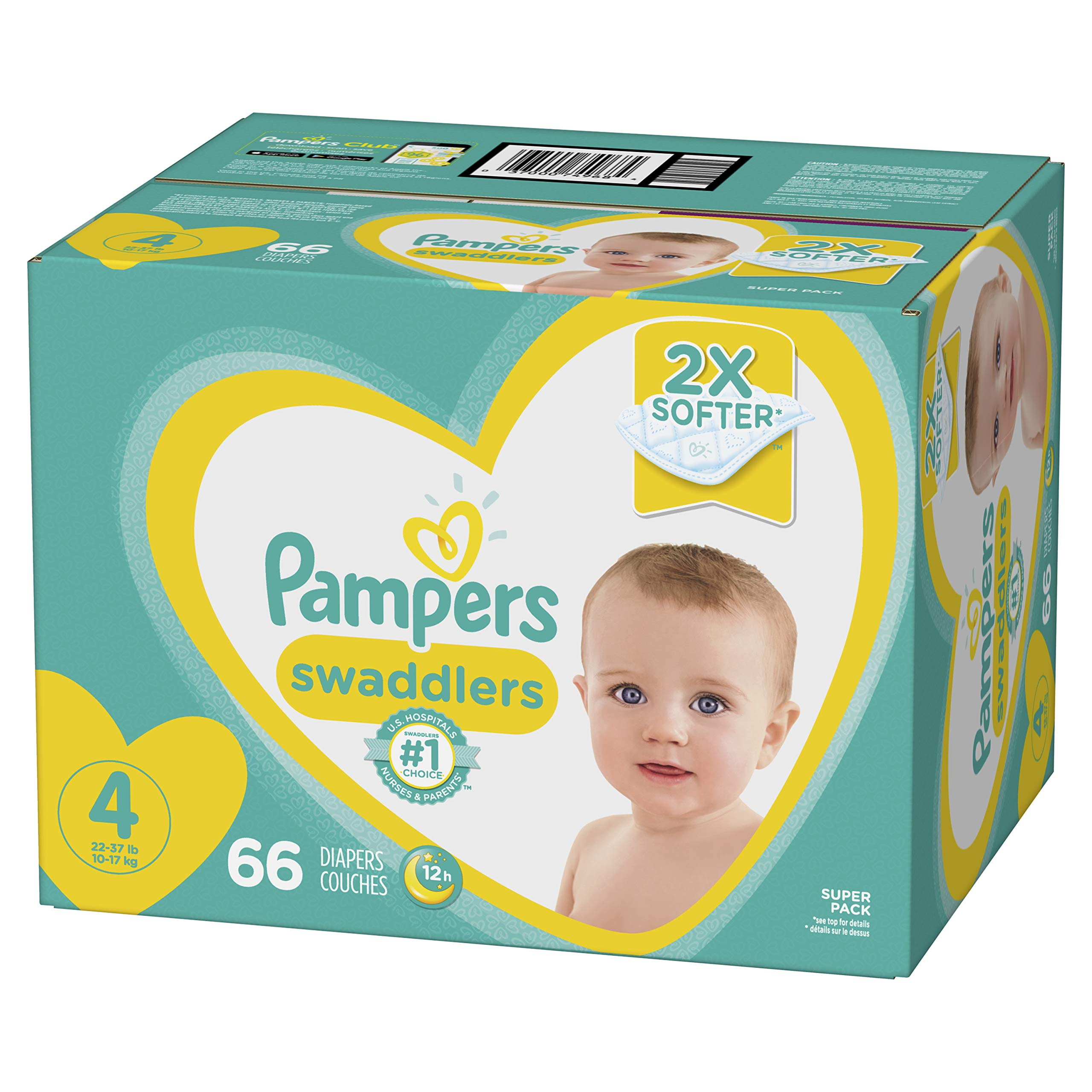 Diapers Size 4, 66 Count - Pampers Swaddlers Disposable Baby Diapers, Super Pack by Pampers