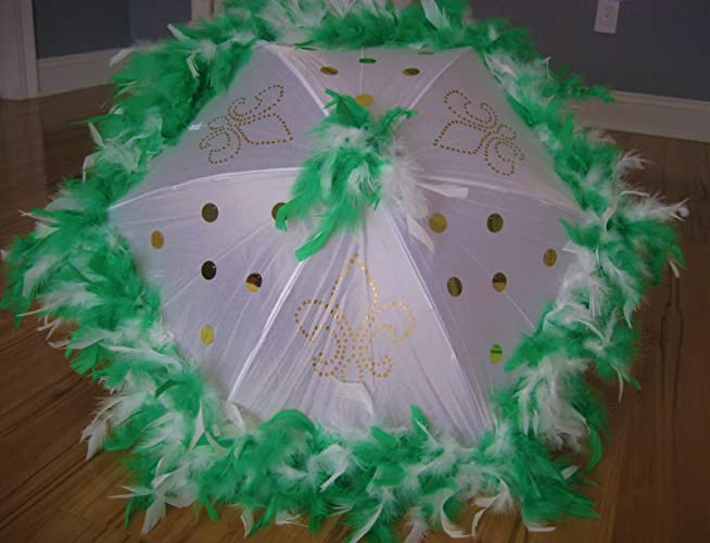 Amazon Com Second Line Umbrella Green And White New Orleans Style