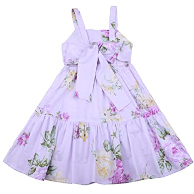 a9abbb8634 Flofallzique Vintage Floral Blue Girls Dress Baby Backless Easter Sundress  Toddler Clothes (1