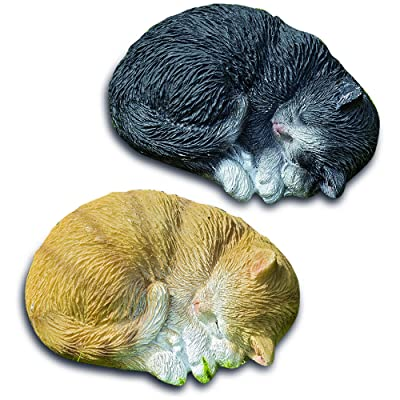 WHW Whole House Worlds Curled Up Kittens, Set of 2, Sleeping Cats, Ginger and Gray, Ultra Realistic Garden Statues, 3 1/2 W x 2 3/4 H Inches, Cast Polyresin: Home & Kitchen