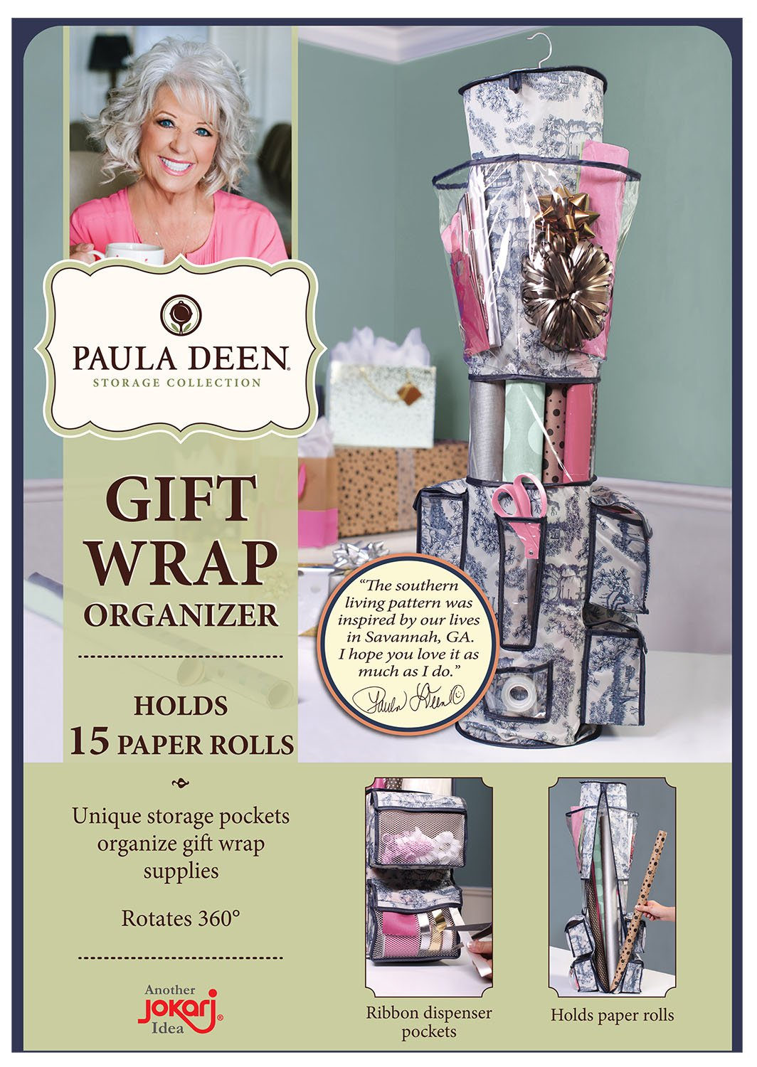 Paula Deen Gift Wrap Organizer - Storage for Wrapping Paper (All Sized Rolls), Gift Bags - Organize Your Closet with this Hanging Bag & Box to Have Organization, Clear Pockets & Hook Hangs