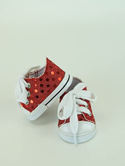 fe9bf1d18806b 18 Inch Red Sequin Sneaker Tennis Shoe. Doll Clothing/ Fits 18
