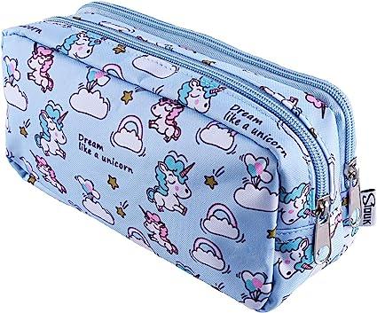 SIQUK Estuche de lápices Unicornio Lápiz de gran capacidad Bolsas dobles Bolso de lápiz Unicornio para niñas, niños y adultos: Amazon.es: Oficina y papelería