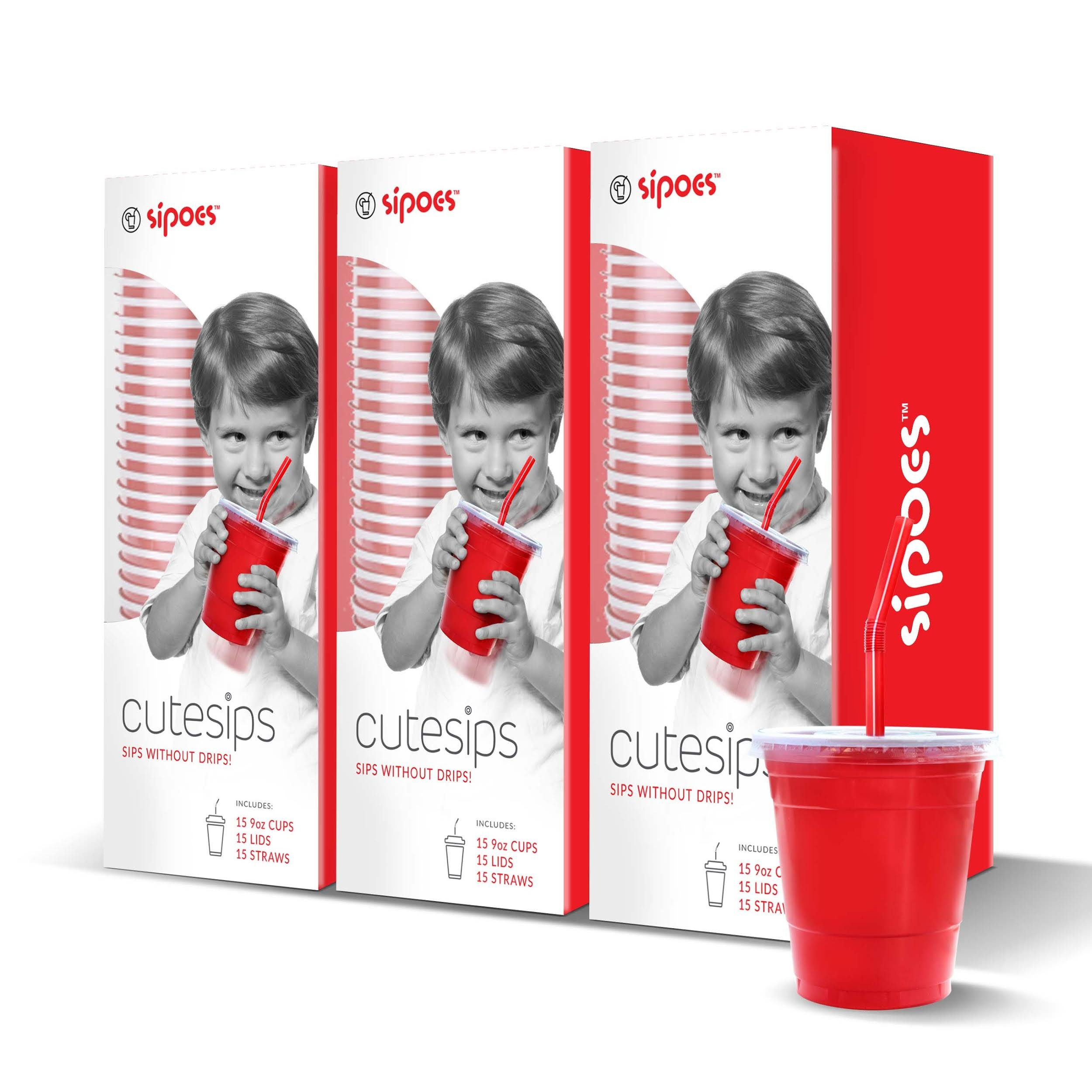 CuteSips Kids Drinking Cups Lids and Straws by Sipoes 3 Boxes of 15 (45 ct) by CuteSips