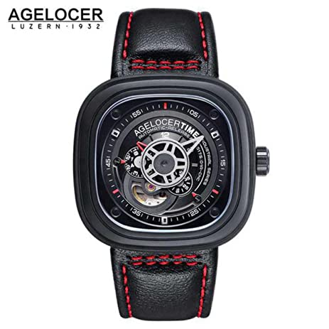 Agelocer Brand square men watch top quality relojes hombre 2016 Business Dress Casual Luxury sports watch