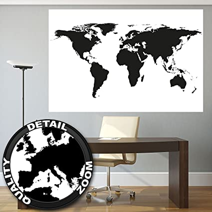 XXL Poster World Map Black And White Wall Picture Decoration Map Continents  Map Of The World
