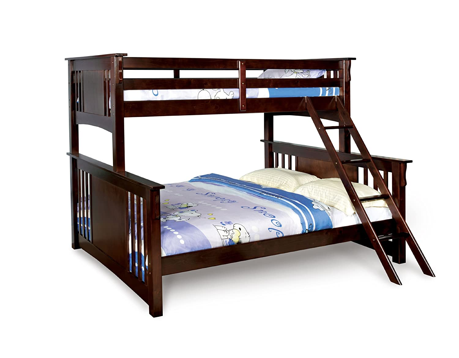 Amazon.com: Furniture Of America Steven Bunk Bed, Twin Over Queen, Dark  Walnut: Kitchen U0026 Dining