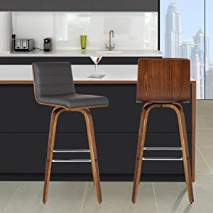 """Armen Living LCVIBAGRWA30 Vienna 30"""" Bar Height Barstool in Grey Faux Leather and Walnut Wood Finish"""
