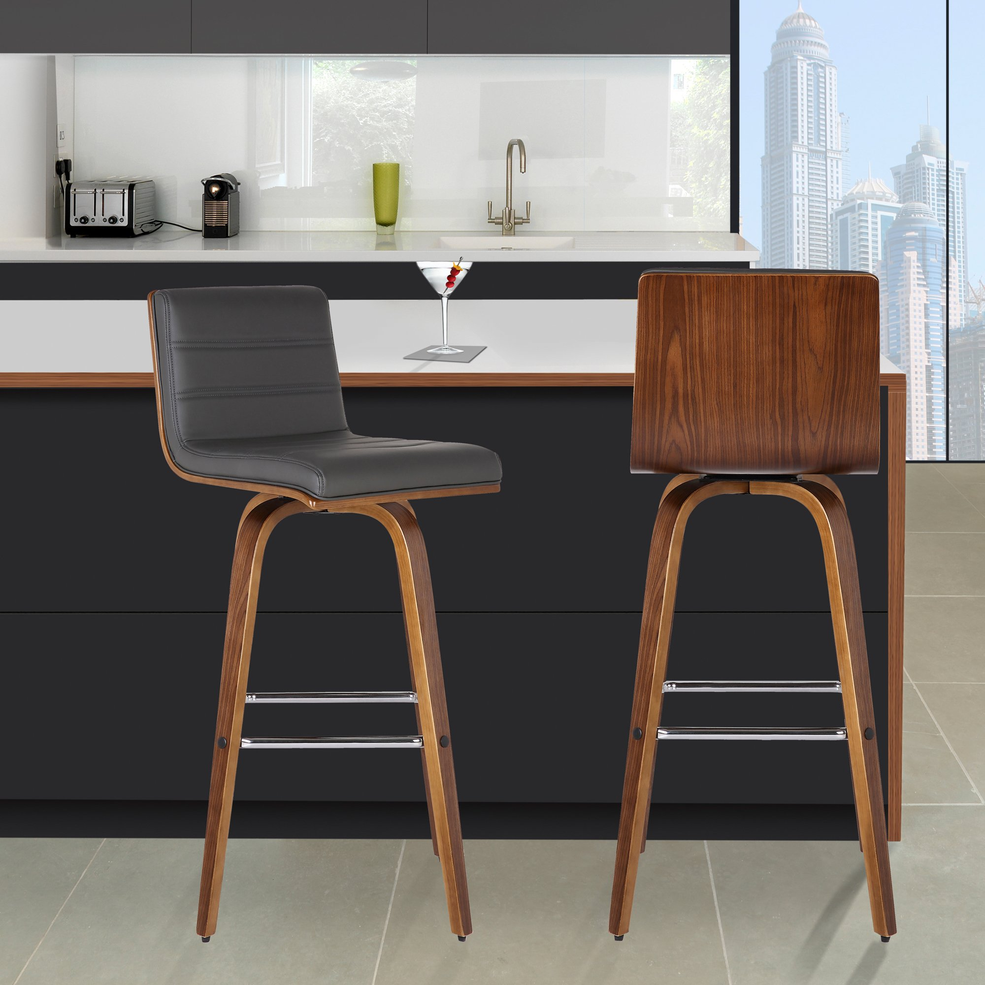 Armen Living Vienna 30'' Bar Height Barstool in Grey Faux Leather and Walnut Wood Finish by Armen Living