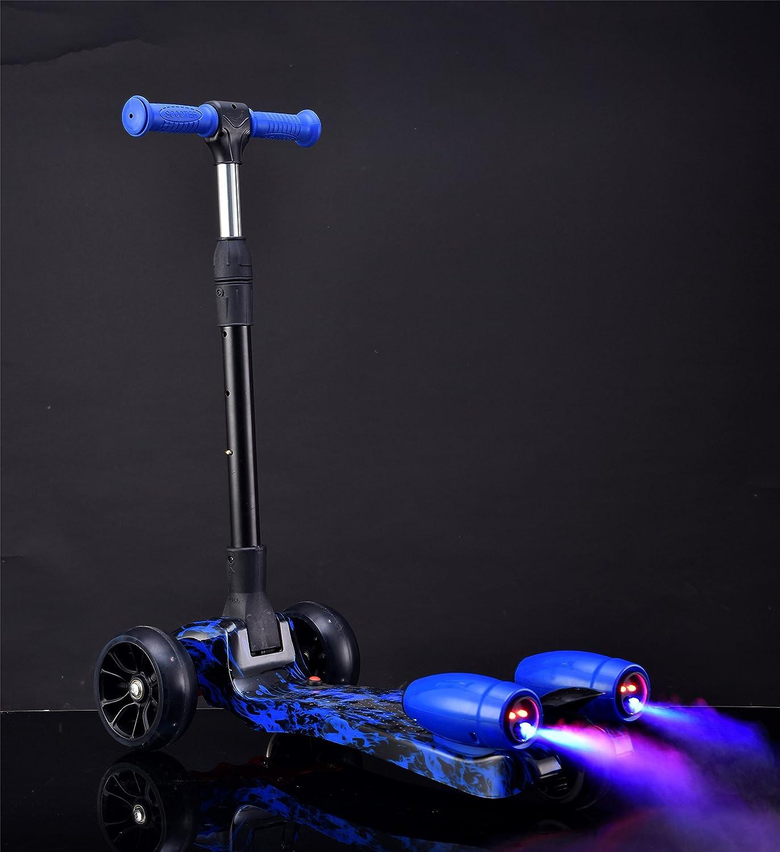 Deluxe Design 3 Wheel Nano Spray-Fire - Fog Kids Kick Scooter Folding and Adjustable, Led Wheels, Rocket Sprayer - Night Blue