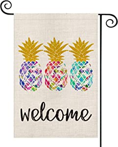 AVOIN Welcome Pineapple Tropical Fruit Garden Flag Vertical Double Sided, Aloha Art Summer Flag Yard Outdoor Decoration 12.5 x 18 Inch