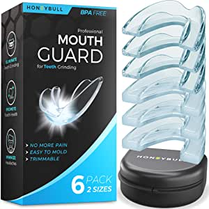 HONEYBULL Mouth Guard for Grinding Teeth [6 Pack - 2 Sizes] for Clenching at Night, Whitening & Sports