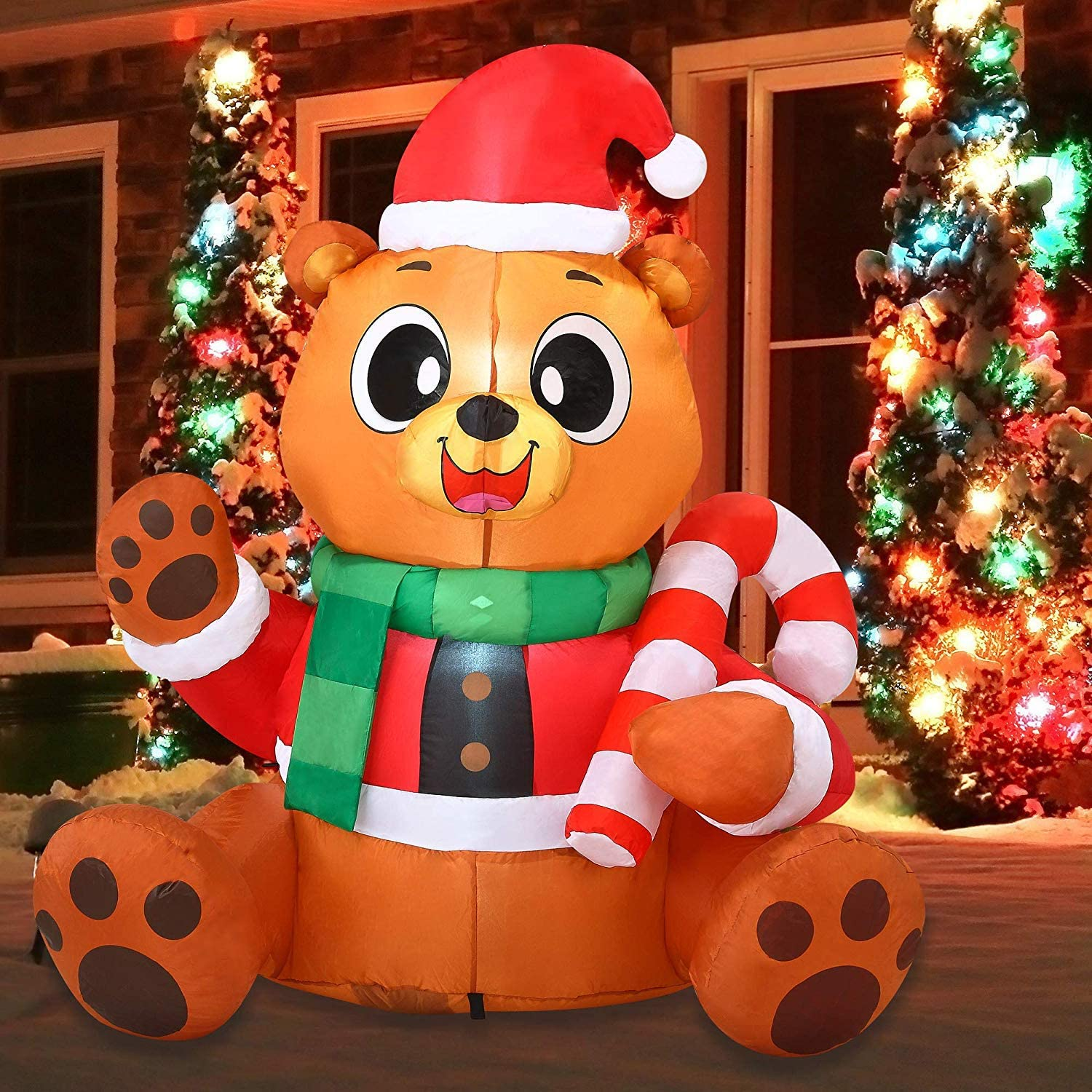 Joiedomi Christmas Inflatable Decoration 5 FT Inflatable Christmas Teddy Bear Inflatable with Build-in LEDs Blow Up for Christmas, Party Indoor, Outdoor, Yard, Garden, Lawn Décor.