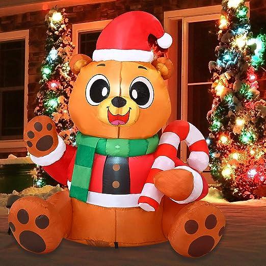 Amazon.com: Oso de peluche hinchable de Navidad de Joiedomi ...