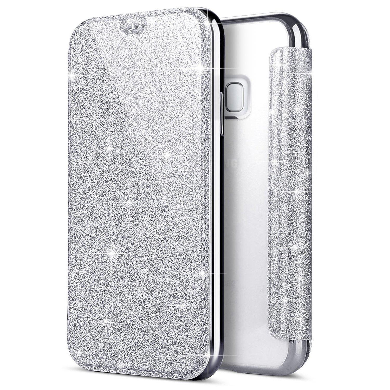Funda Samsung Galaxy S6,YSIMEE Funda Cuero PU Samsung Galaxy S6, Fundas Samsung Galaxy S6 Glitter Brillante Flip Cover con TPU Transparente Case,Ranuras para Tarjetas Carcasa Para Samsung Galaxy S6-Silver