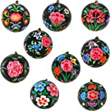 ornamenti floreali regalo arredamento libro di cartapesta palle nere Set di 9
