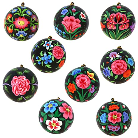 set of nine handmade black paper mache floral christmas ornaments - Amazon Christmas Ornaments