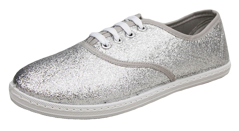 Jeffrey D Original Women's Lace up Canvas Casual Basic Athletic Shoe Sneakers B07BST3FTQ 10 M US|Silver Glitter