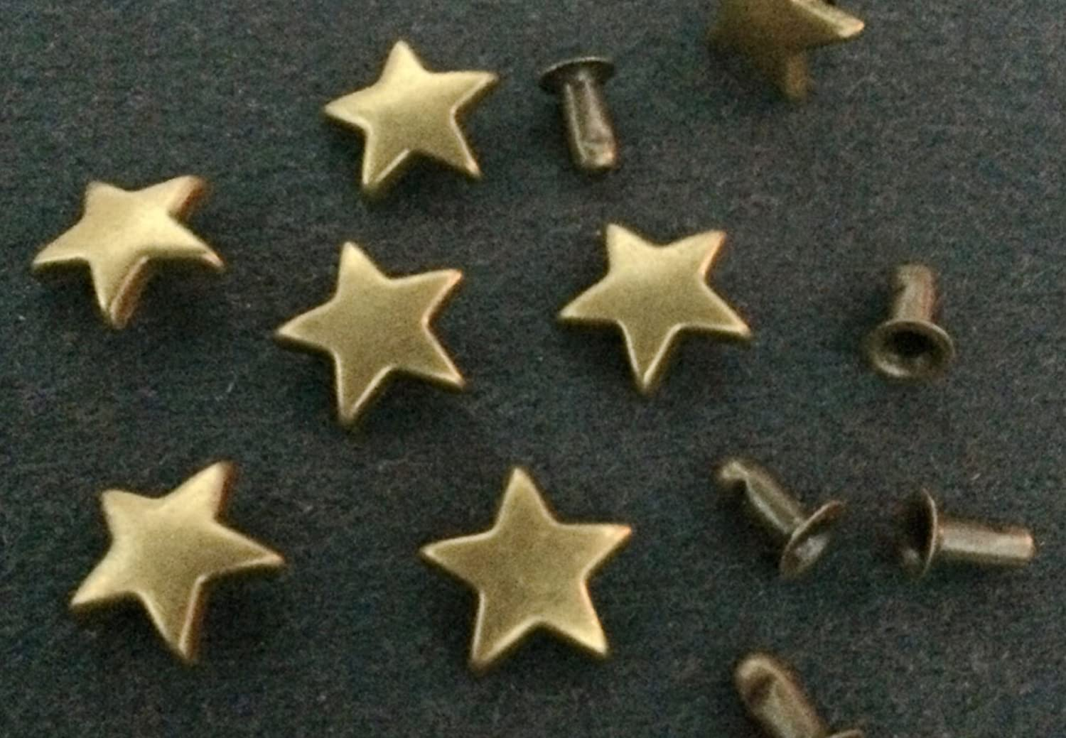 100pcs 11mm Antique Brass Star Rivets Studs Nailhead Rock Biker Punk Emo DP080 THAILAND