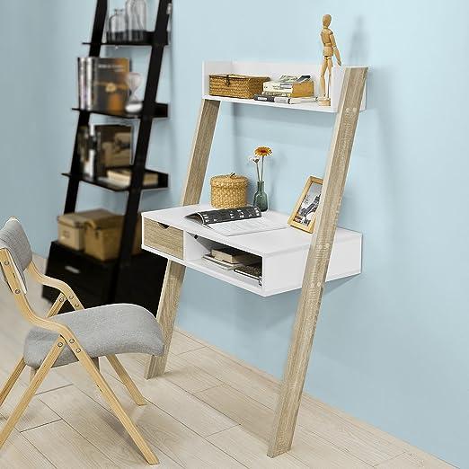 SoBuy® Estanteriá Escalera,Estante de Pared con 1 cajón y 1 Mesa Escritorio,2 Estante,Librería,FRG227-WN,ES: Amazon.es: Hogar
