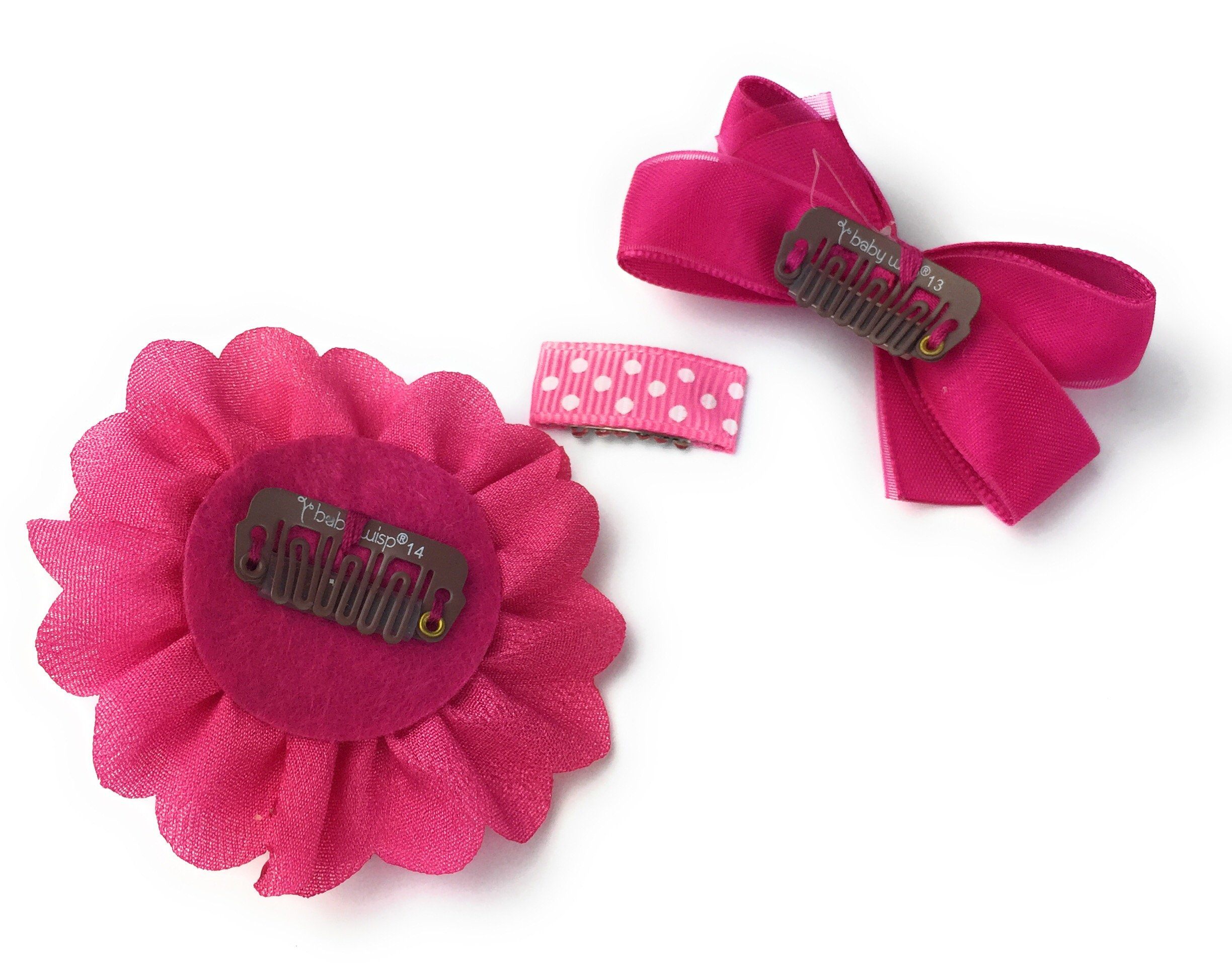 Baby Wisp Mini Latch Clip Satin Boutique Bow Grosgrain Ribbon Clip Flower Accessory Baby Girl Gift Set (Fuchsia) by Baby Wisp (Image #10)