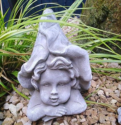 Radami Figura Decorativa para jardín (Piedra, Resistente a Las heladas), diseño de Elfo, Elfe Blatt: Amazon.es: Jardín