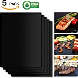 SHINE HAI Grill Mat Set of 5, 100% Non-Stick BBQ Grill & Baking Mats, FDA-Approved, PFOA Free, Reusable and Easy to Clean, BBQ Accessories for Gas, Charcoal, Electric Grill and More- 15.75 x 13 Inch