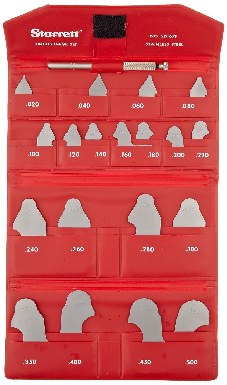 19 Gauges Starrett SD167FHZ Radius Gauge Set Satin Finish Decimal Inch With Holder 0.020 And 0.050 Increments 0.020-0.500 Range