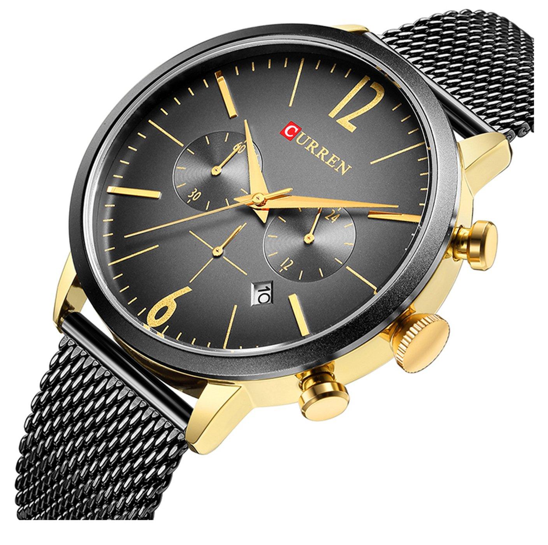 ファッションカジュアルビジネススポーツクロノグラフ日付メッシュスチールバンド防水メンズクォーツ手首腕時計 ブラックゴールド B07D6T8TKR ブラックゴールド ブラックゴールド