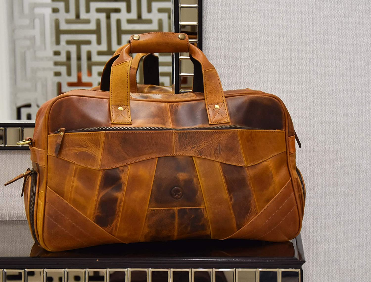 Caramel 19 Inch Leather Travel Duffle Bag For Men Overnight Weekend Luggage Carry On Duffel Bag