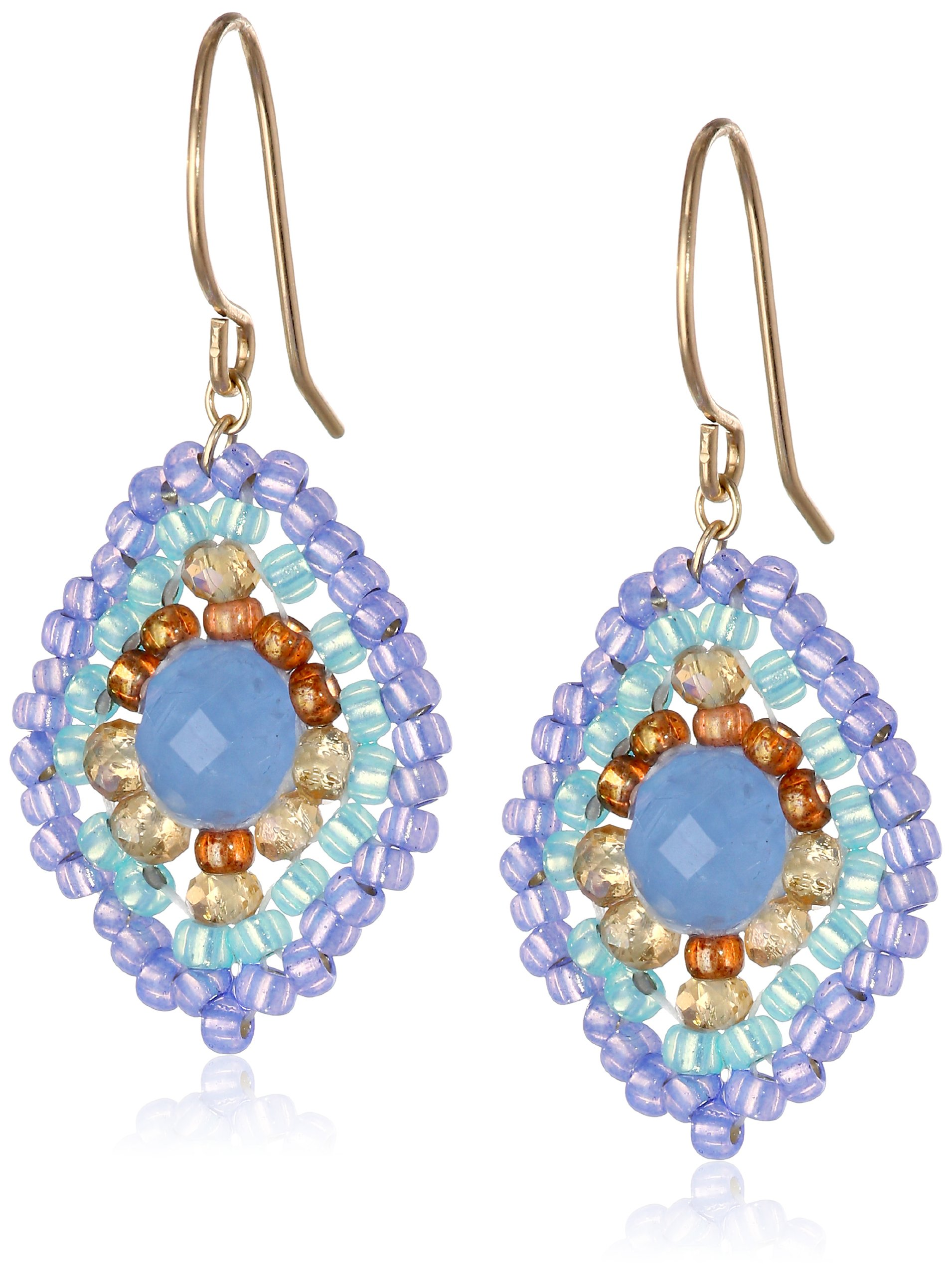 Miguel Ases Blue Quartz and Topaz Hydro Lotus Drop Earrings, 1.4''
