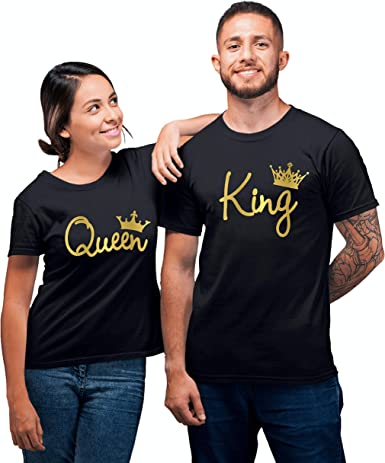 Couple T-Shirt Crown King And Queen Love Matching Summer Fashion Unisex Tee Tops