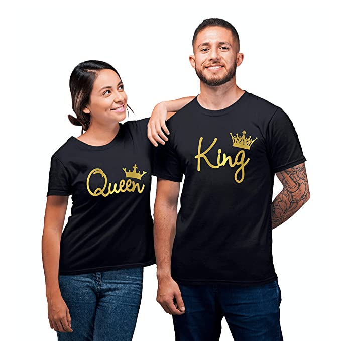50f372e9d8 King Queen Gold Fashion Crowns Couple Matching T-Shirts at Amazon Women's  Clothing store: